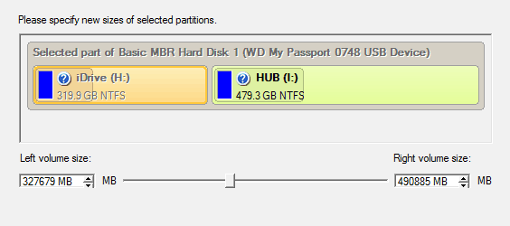 Resize Partition Option
