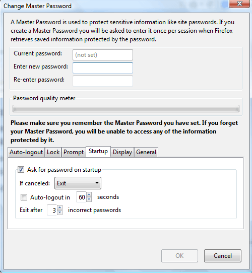 Lock Firefox with Master Password