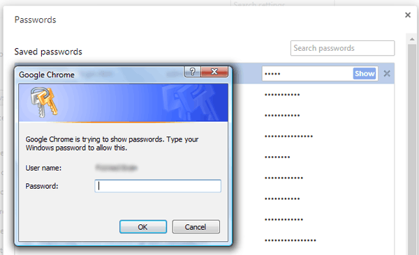 Password Manager Reauthentication - Google Chrome