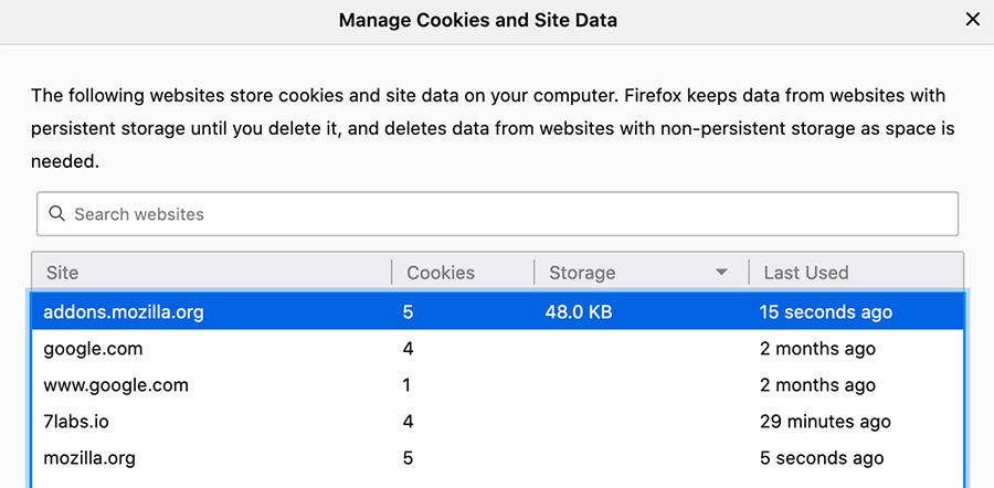 Clear site-specific cookies and cache in Firefox