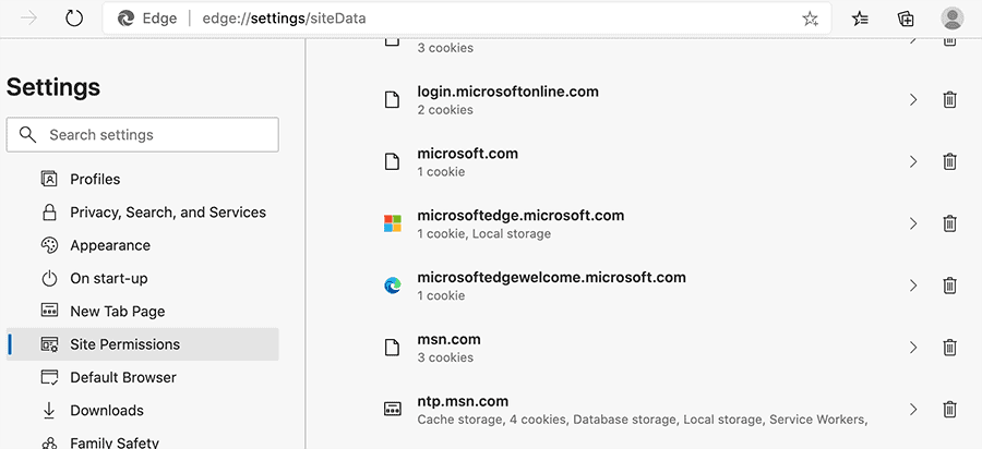 Clear site-specific cookies and cache in Microsoft Edge