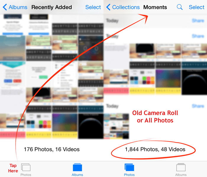 All Photos on iOS 8 - Old Camera Roll