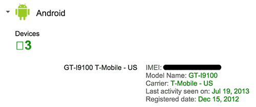 Find IMEI number of stolen Android phone