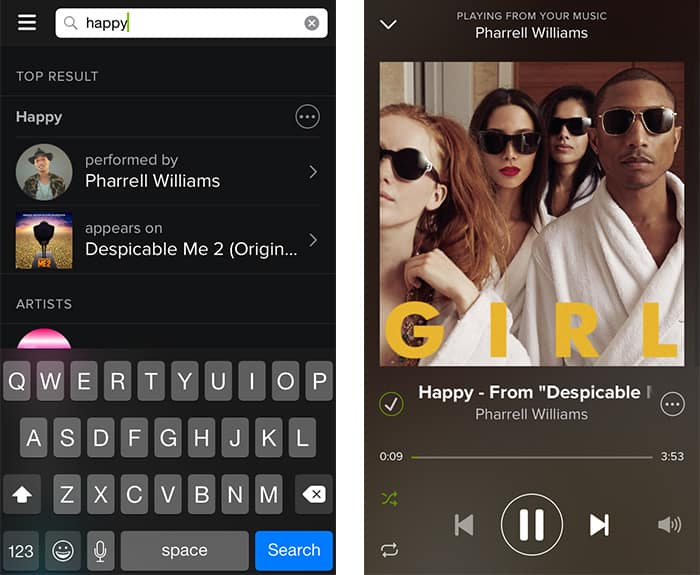 On demand music on Spotify free - iPhone, Android