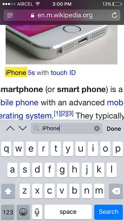 Search for text on a web page in Safari - iOS tricks