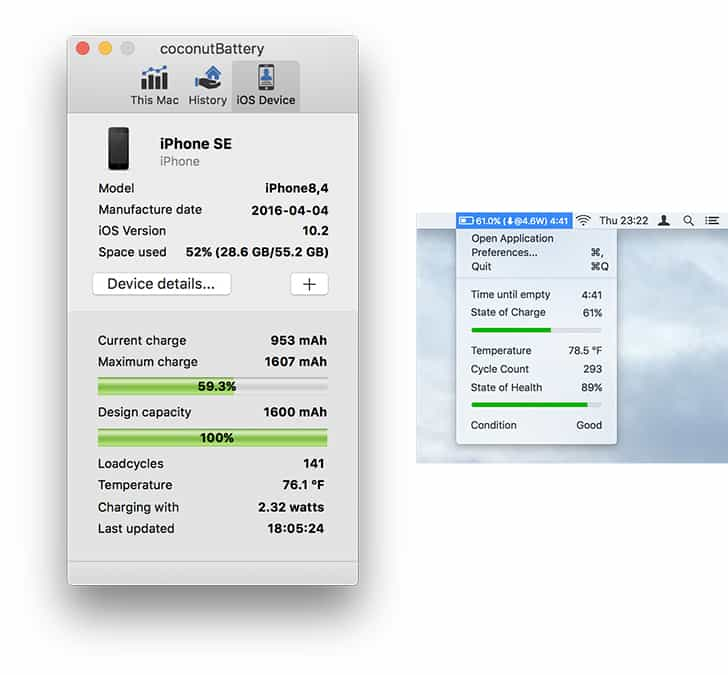 Check iPhone battery health (Wear Level, Charge Cycles) without Jailbreak