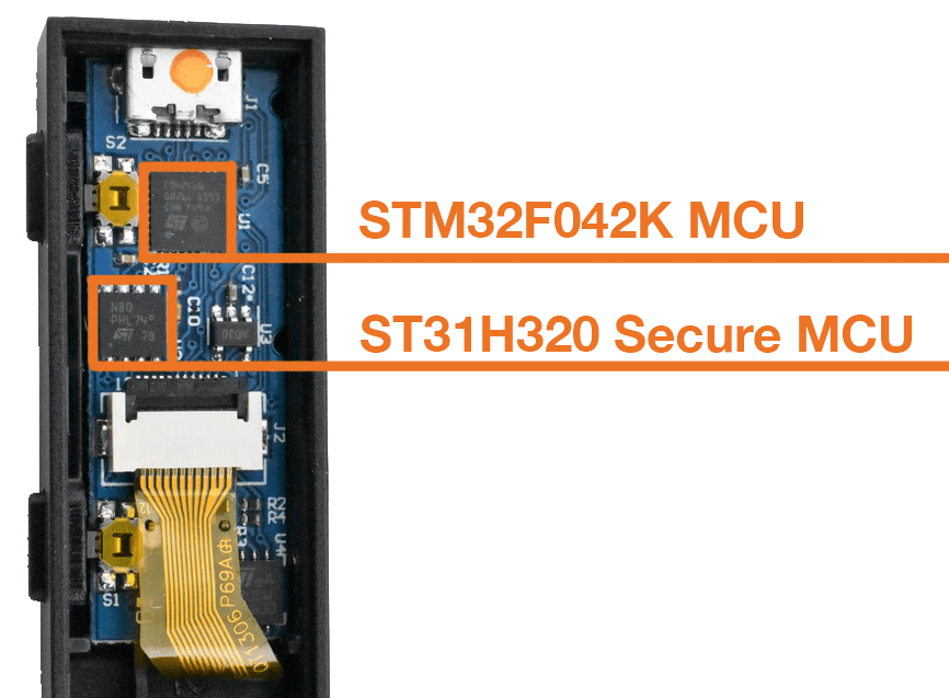 Ledger Nano S teardown STM32F042K MCU with ST31H320 Secure MCU