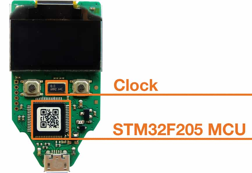 TREZOR teardown STM32F205 MCU