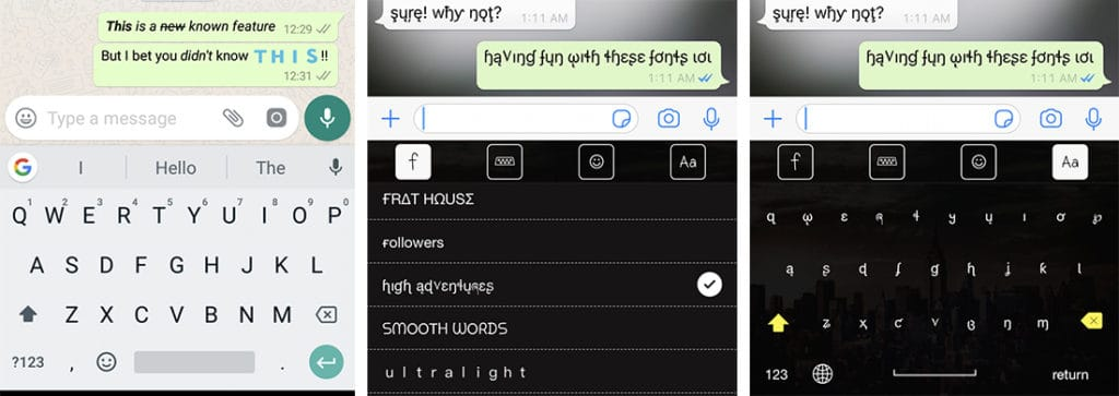 Change font style and color in WhatsApp chat - iPhone, Android