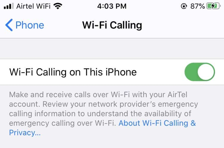 Enable Wi-Fi calling