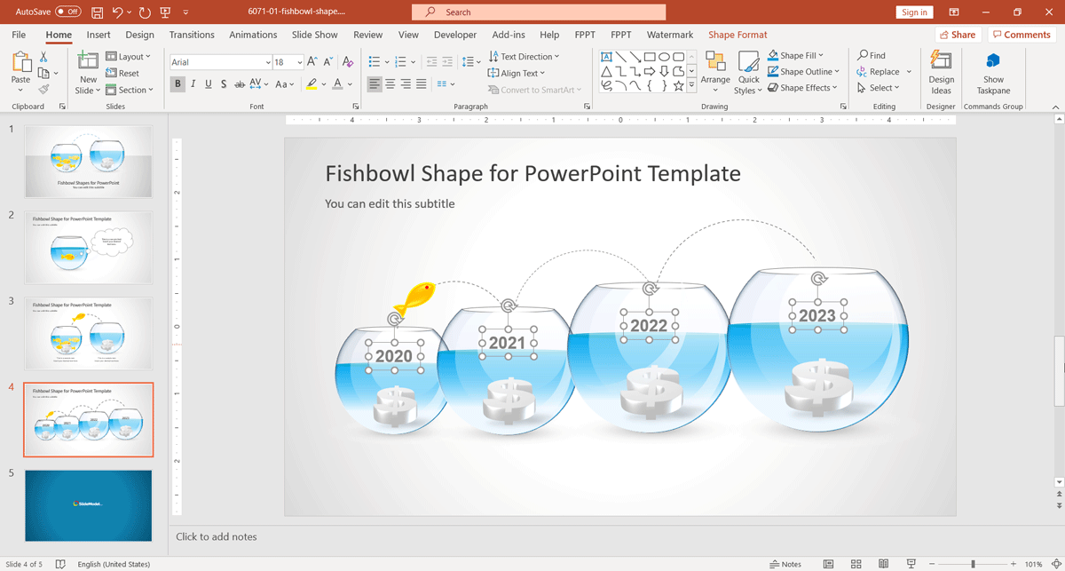 Fishbowl Shape for PowerPoint by SlideModel