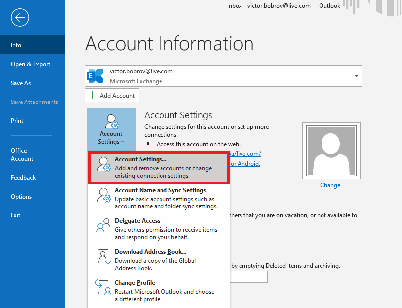 MS365 File-Account Settings - Fix Corrupted Microsoft Outlook Storage