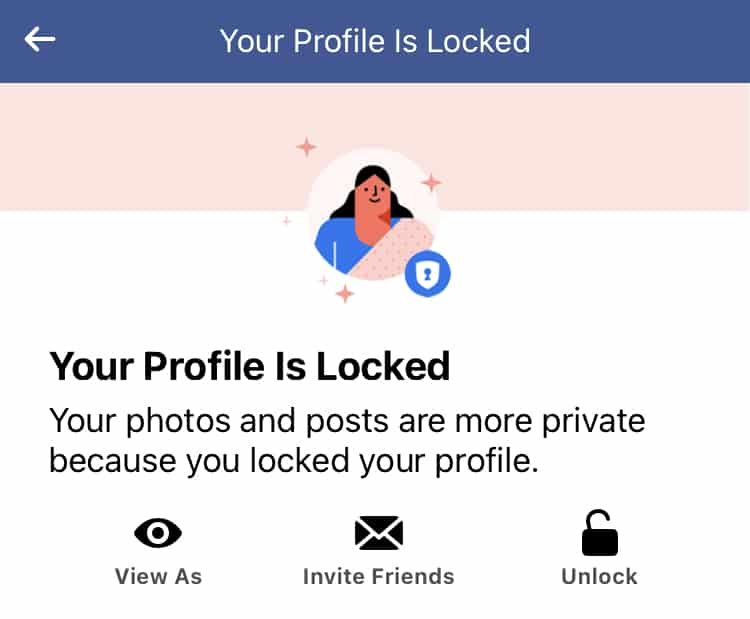 Lock Facebook Profile on iPhone, iPad