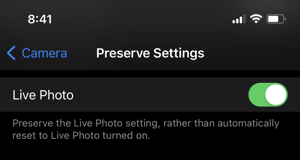 How to turn off Live Photos